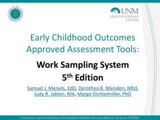 Early Childhood Outcomes Approved Assessment Tools: