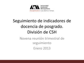 Seguimiento de indicadores de docencia de posgrado.  División de CSH