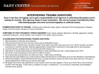 INTERVIEWING TRAUMA SURVIVORS