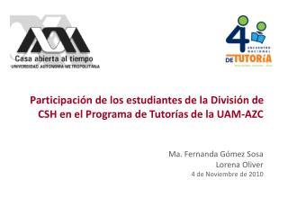 Programa de Acci�n Tutorial Divisi�n de Ciencias Sociales y Humanidades UAM-AZC