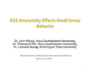 GSS  Anonymity  Effects Small Group Behavior