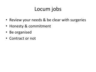 Locum jobs