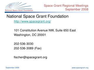 Space Grant Regional Meetings September 2008