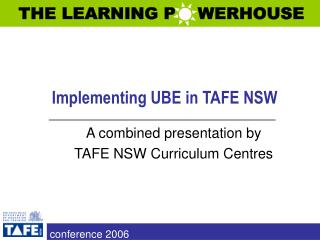 Implementing UBE in TAFE NSW