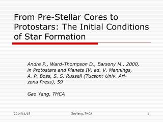 From Pre-Stellar Cores to Protostars: The Initial Conditions of Star Formation