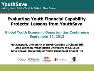 Evaluating Youth Financial Capability Projects: Lessons from YouthSave
