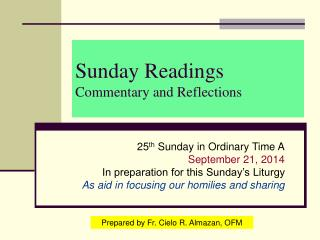 Sunday Readings Commentary and Reflections