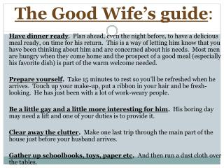The Good Wife's guide :