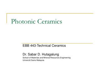 Photonic Ceramics