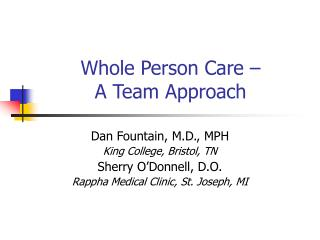 Whole Person Care –  A Team Approach