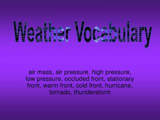 Weather Vocabulary