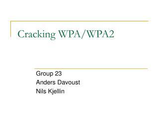 Cracking WPA/WPA2