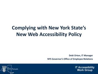 Complying with New York State�s New Web Accessibility Policy
