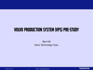 Volvo production system (VPS) pre-study