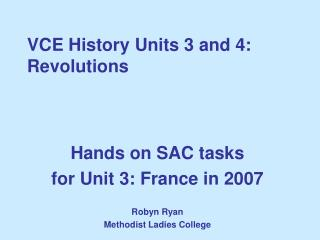 VCE History Units 3 and 4:  Revolutions