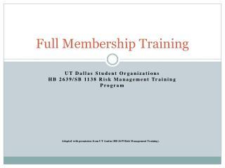 Full Membership Training