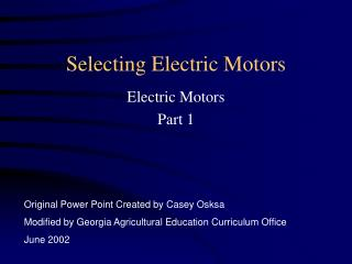 Selecting Electric Motors