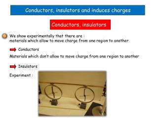 Conductors, insulators and induces charges