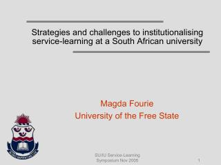 Strategies and challenges to institutionalising service-learning at a South African university