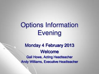 Options Information Evening