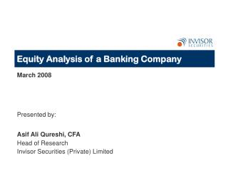 Equity Analysis of a Banking Company