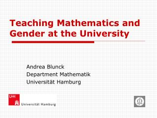 Teaching Mathematics and Gender at the University