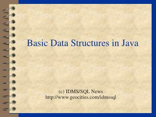 Basic Data Structures in Java