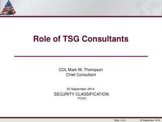 Role of TSG Consultants
