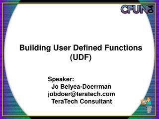 Building User Defined Functions (UDF)