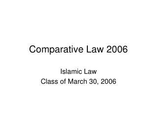 Comparative Law 2006