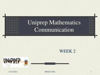 Uniprep Mathematics Communication