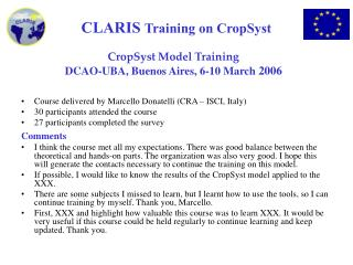 CropSyst Model Training DCAO-UBA, Buenos Aires, 6-10 March  2006