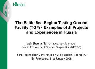 Ash Sharma, Senior Investment Manager Nordic Environment Finance Corporation (NEFCO)