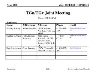 TGu/TGv Joint Meeting