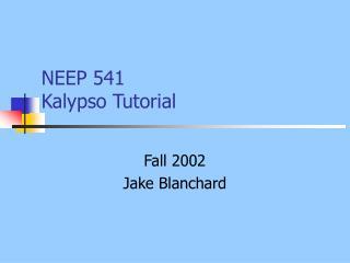 NEEP 541 Kalypso Tutorial