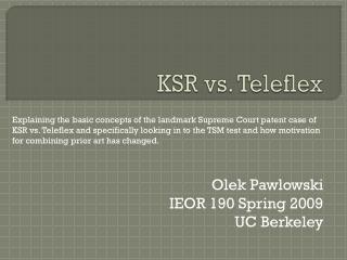 KSR vs. Teleflex