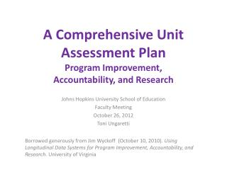 A Comprehensive Unit Assessment Plan Program Improvement,  Accountability, and Research