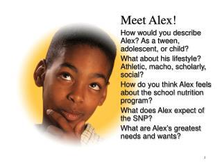 Meet Alex! How would you describe Alex? As a tween, adolescent, or child?