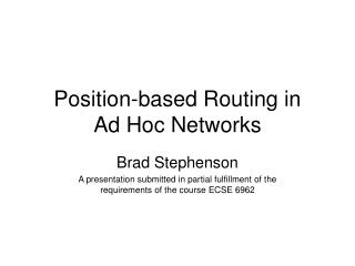 Position-based Routing in Ad Hoc Networks