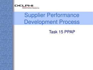 Supplier Performance Development Process