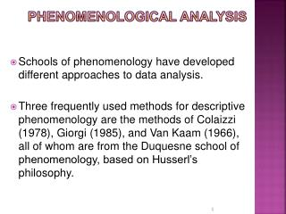 Phenomenological Analysis