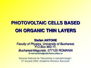 PHOTOVOLTAIC CELLS BASED ON ORGANIC THIN LAYERS