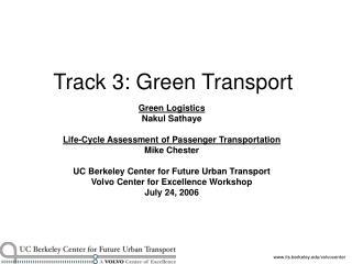 Track 3: Green Transport
