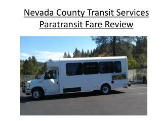 Nevada County Transit Services Paratransit Fare Review