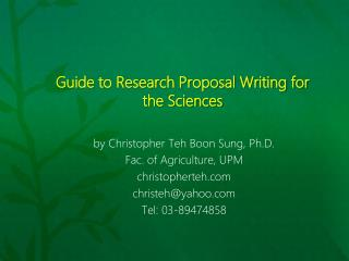 Guide to Research  Proposal Writing for the Sciences
