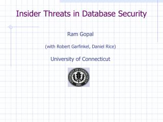Insider Threats in Database Security