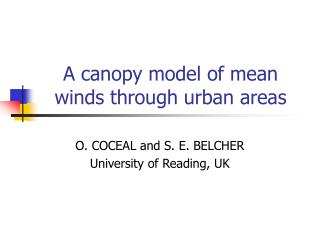 A canopy model of mean winds through urban areas