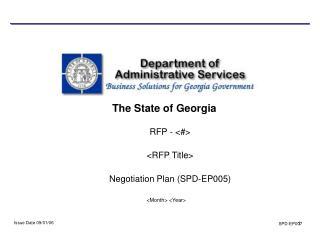 RFP - <#> <RFP Title>  Negotiation Plan (SPD-EP005)