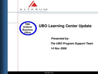 UBO Learning Center Update