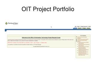 OIT Project Portfolio